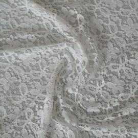 Tissu dentelle petites fleurs blanc x 10cm