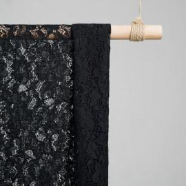 Tissu dentelle fleurs noir - pretty mercerie - mercerie en ligne