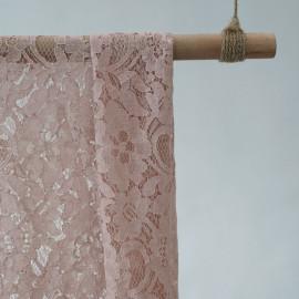Tissu dentelle jardin fleuri rose pâle - pretty mercerie - mercerie en ligne