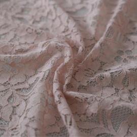 Tissu dentelle jardin fleuri rose pâle x 10cm
