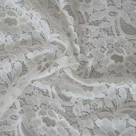 Tissu guipure jardin fleuri blanc x 10cm
