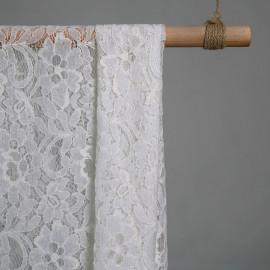 Tissu dentelle jardin fleuri blanc - pretty mercerie - mercerie en ligne