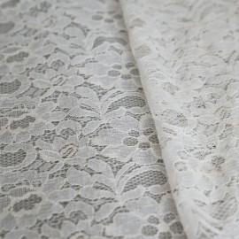 Tissu dentelle jardin fleuri blanc x 10cm