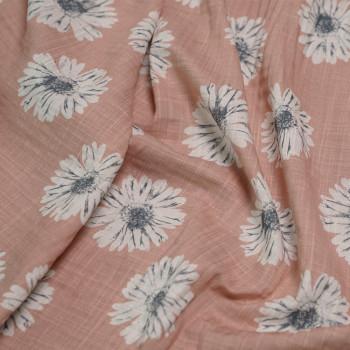 Tissu coton imprimé marguerite rose vieilli x 10cm - pretty mercerie - mercerie en ligne - tissu couture - mercerie pas cher