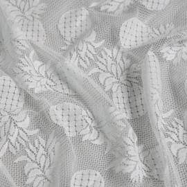 Tissu dentelle ananas blanc x 10cm