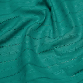 Tissu coton brodé vert céramique x 10cm