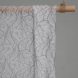 Tissu guipure tulipe fleuri blanc & Noir x 10cm - Tissus couture - tissus pas cher - pretty mercerie