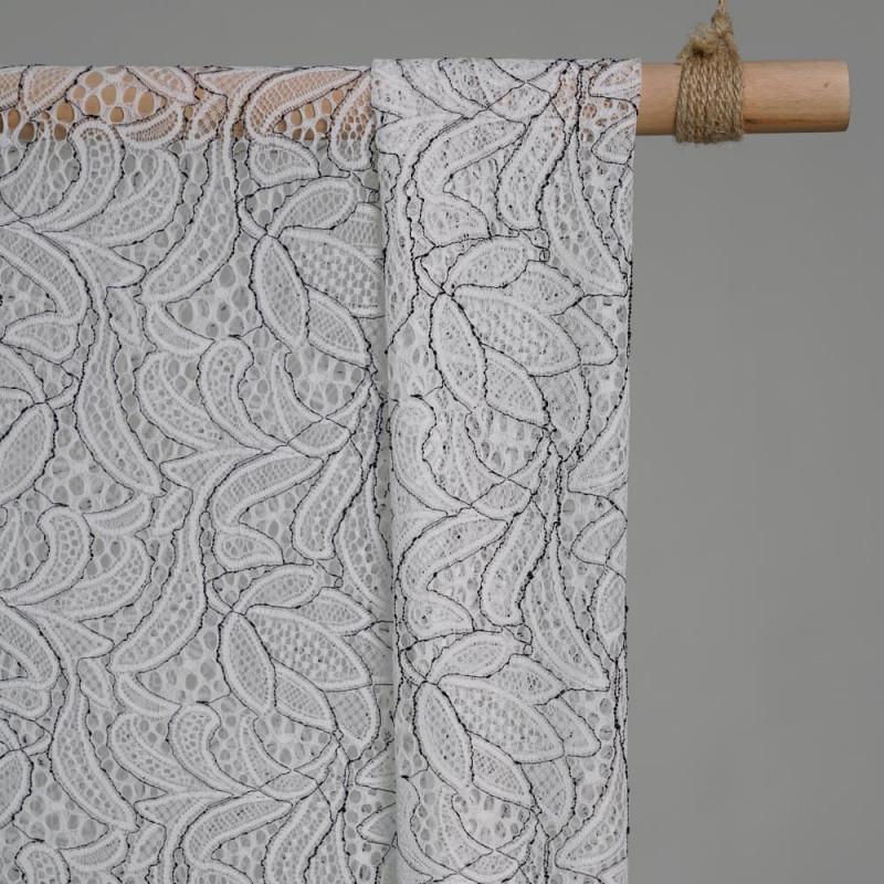 Tissu dentelle tulipe fleuri blanc et Noir x 10cm - pretty mercerie - mercerie en ligne