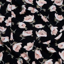 tissu viscose pink flowers x 10cm
