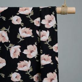 tissu viscose pink flowers x 10cm - Tissus couture - tissus pas cher - pretty mercerie