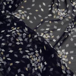 Tissu mousseline losange bleu et blanc et jaune  x 10cm