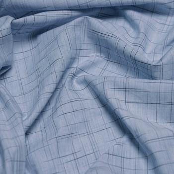 achat Tissu coton imprimé bleu ciel chiné et lignes noir x 10cm - pretty mercerie