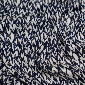 achat tissu viscose ethnique bleu et beige et crème x 10cm - pretty mercerie