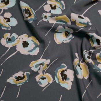 achat Tissu crêpe gris et fleurs pastel X 10 CM - pretty mercerie