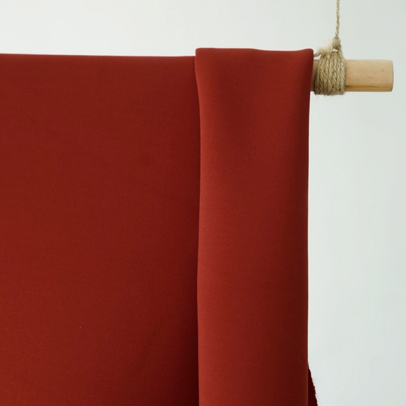 achat tissu néoprène viscose alvéolé rouge argile - pretty mercerie