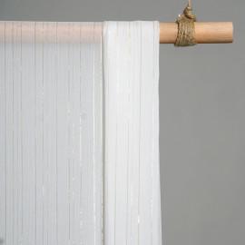 achat Tissu mousseline blanc à lignes or et argent   - pretty mercerie - mercerie en ligne