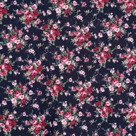 achat Tissu coton bleu nuit motif bouquet de roses  - pretty mercerie - mercerie en ligne