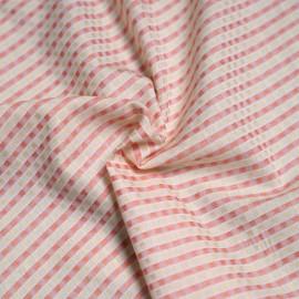 Tissu coton tissé blanc et melon et vanille  x 10cm
