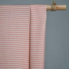 achat Tissu coton tissé blanc et melon et vanille - pretty mercerie - mercerie en ligne