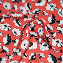 Tissu viscose rose motif fleurs de pavot  X 10 CM