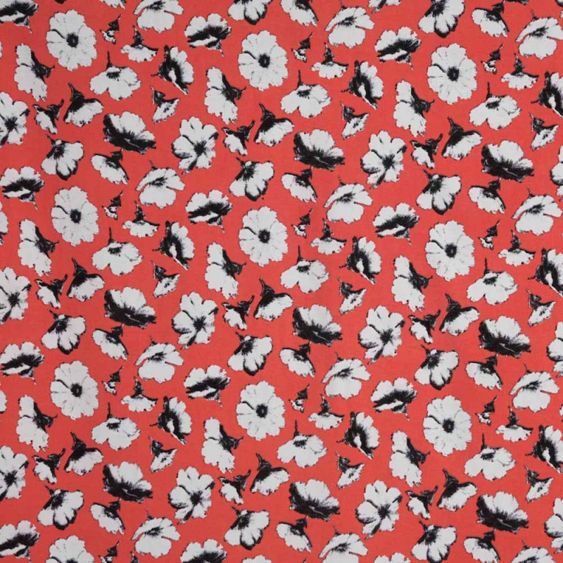 achat Tissu viscose rose motif fleurs de pavot   - pretty mercerie - mercerie en ligne