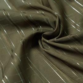 Tissu coton et soie vert kaki à ligne argent x 10cm