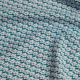 Tissu coton vert imprimé mini fleurs x 10cm