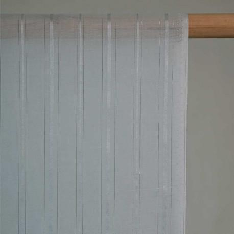 achat Tissu coton et soie bleu glacier à ligne argent - pretty mercerie - mercerie en ligne