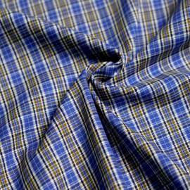 Tissu coton à carreaux tissés bleu et olive dorée x 10cm