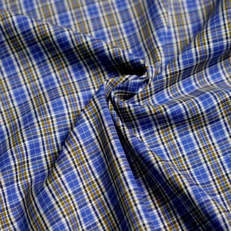 achat Tissu coton à carreaux tissés bleu et olive dorée - pretty mercerie - mercerie en ligne
