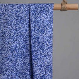 achat Tissu coton dazzling blue imprimé mini fleurs blanches  - pretty mercerie - mercerie en ligne