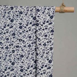 achat Tissu coton blanc imprimé fleurs bleu et jaune - pretty mercerie - mercerie en ligne