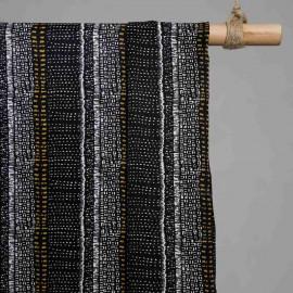 achat Tissu coton noir motif imprimé ethnique  - pretty mercerie - mercerie en ligne