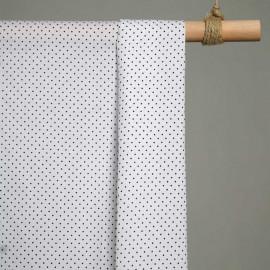 achat Tissu coton blanc imprimé mini pois noir  - pretty mercerie - mercerie en ligne