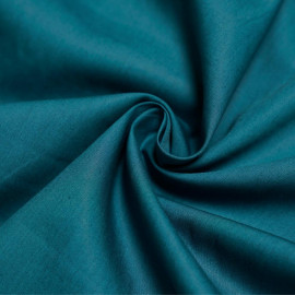 Tissu popeline de coton bleu canard x 10cm