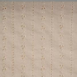 achat Tissu coton vanille à motif lignes brodées et ajourées  - pretty mercerie - mercerie en ligne
