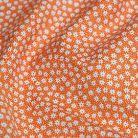 Tissu coton orange motif fleurs graphiques et points x 10cm