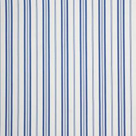 achat Tissu viscose sergé blanc motifs rayures bleu - pretty mercerie - mercerie en ligne