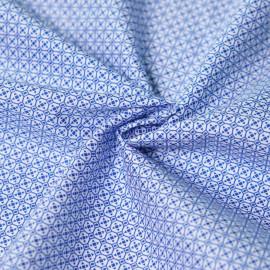 Tissu coton blanc motif géométrique bleu x 10cm