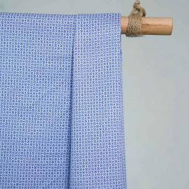 achat Tissu coton blanc motif géométrique bleu - pretty mercerie - mercerie en ligne