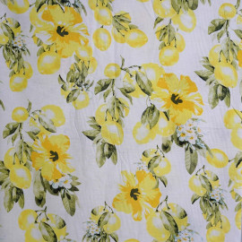 achat Tissu coton blanc imprimé motif citron et orchidée - pretty mercerie - mercerie en ligne