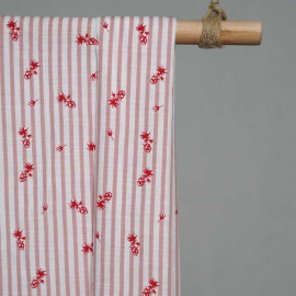 achat Tissu blanc imprimé rayures et fleurs - pretty mercerie - mercerie en ligne