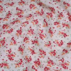 Tissu voile de coton blanc imprimé fleurs de printemps x 10cm