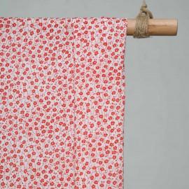 achat Tissu coton blanc imprimé fleurs des champs rouges  - pretty mercerie - mercerie en ligne
