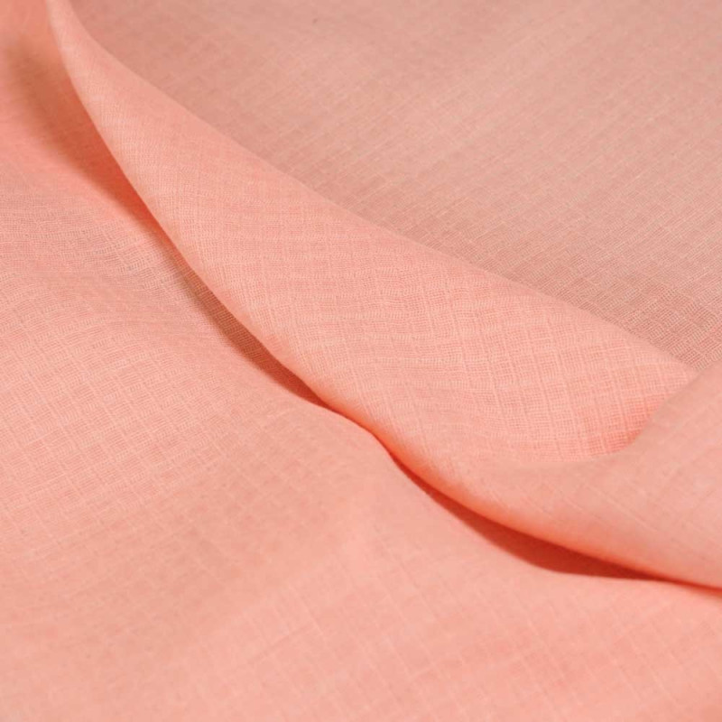 achat Tissu gaze de coton corail à carreaux tissés  - pretty mercerie - mercerie en ligne