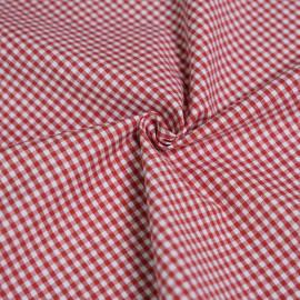 Tissu coton tissé vichy rouge et blanc x 10cm