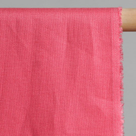 achat Tissu lin uni rose- pretty mercerie - mercerie en ligne
