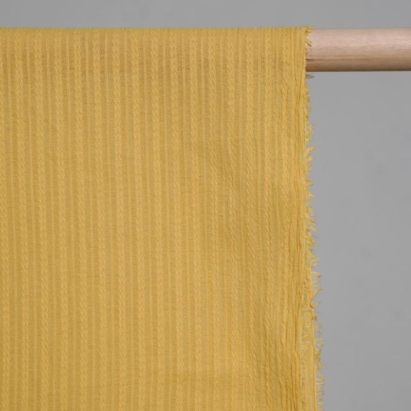 achat Tissu coton lignes brodées jaune  - pretty mercerie - mercerie en ligne