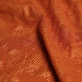 Tissu maille cote orange irisé et fleurs tropicals imprimées x 10cm