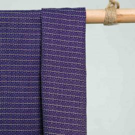 achat Tissu jacquard cercles et carreaux bleu et beige  - pretty mercerie - mercerie en ligne